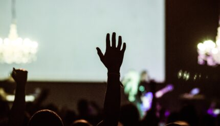 Person with hand up at concert