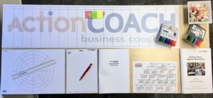 Documents laid out for an Alignment planning Day with ActionCOACH Reading