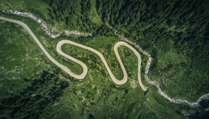 twisting road through mountains