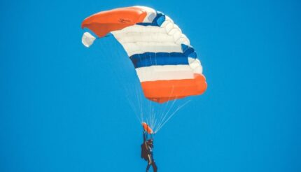 A man parachuting