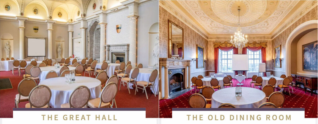 Great Hall plus Old Dining Room in Hazlewood Castle, venue for Coach Alignment Training